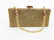 JUDITH LEIBER GOLD CRYSTAL BEADED  CLUTCH